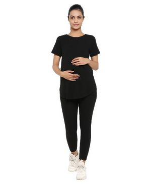 Wobbly Walk Half Sleeves Solid Colour Maternity Top & Leggings Set - Black