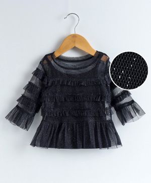 Babyoye Cotton Mix Party Wear Top Ruffle Detailing - Black