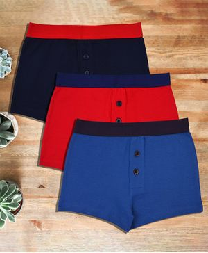 Charm n Cherish Solid Pack Of 3 Cotton Boxers - Blue & Red