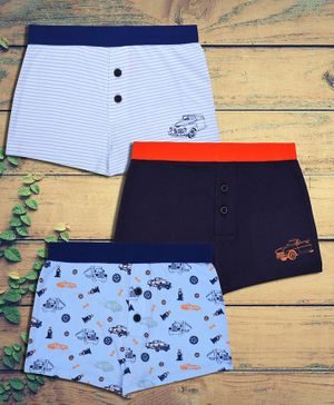 Charm n Cherish Car Printed Pack Of 3 Cotton Boxers - Blue