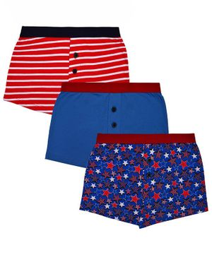 Charm n Cherish Star Printed Pack Of 3 Boxers - Blue & Red