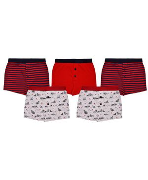 Charm n Cherish Seal Printed Pack Of 5 Boxers - Red & White