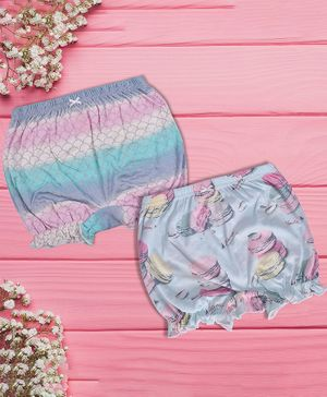Charm n Cherish Macaroons & Mermaid Printed Pack Of 2 Bloomers - Multicolor