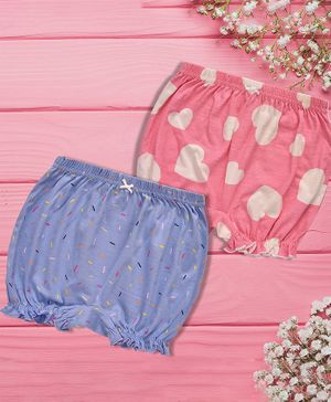 Charm n Cherish Hearts Print Pack Of 2 Bloomers - Pink & Blue