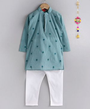 Ethnik's Neu Ron Full Sleeves Striped Kurta & Pajama - Blue