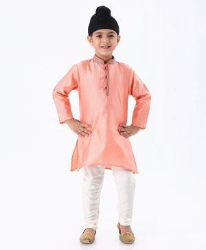 Ethnik's Neu Ron Full Sleeves Self Design Sherwani With Churidar - Peach