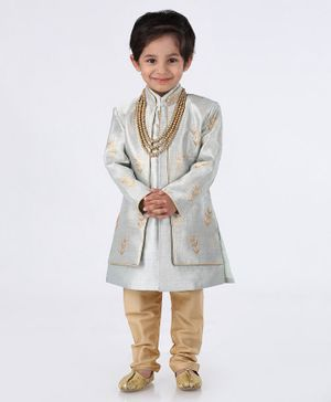 Ethnik's Neu Ron Full Sleeves Sherwani With Churidar Embroidered - Grey