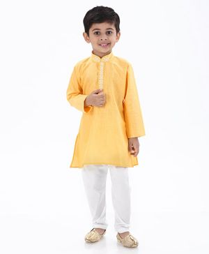 Ethnik's Neu Ron Full Sleeves Self Design Kurta With Pajama - Yellow