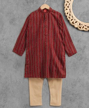 Ethnik's Neuron Full Sleeves Cotton Stripe Print Kurta Pyjama Set - Maroon