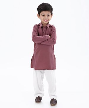Ethnik's Neu Ron Full Sleeves Solid Kurta & Pajama Set - Purple