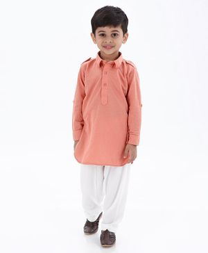 Ethnik's Neu Ron Full Sleeves Solid Kurta & Pajama Set - Peach