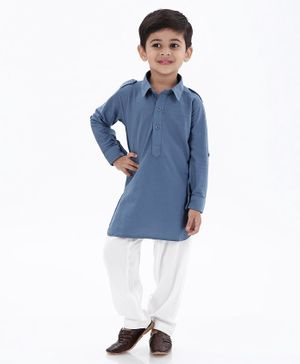 Ethnik's Neu Ron Full Sleeves Solid Kurta & Pajama Set - Blue