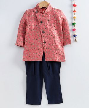 Ethnik's Neu Ron Full Sleeves Sherwani and Pyjama Self Design - Pink Navy Blue