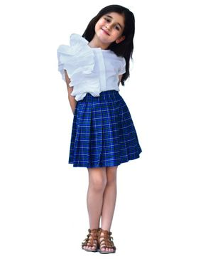 Piccolo Ruffled Half Sleeves Top & Checkered Pleated Skirt - White & Blue