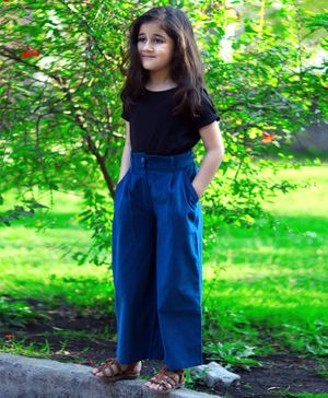 Piccolo Solid Half Sleeves Top With Corduroy Pants - Blue &  Black