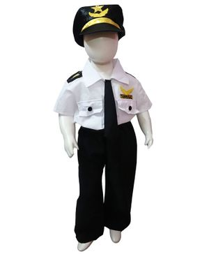 BookMyCostume Half Sleeves Pilot Fancy Dress Costume With Cap Tie & Belt - White And Black