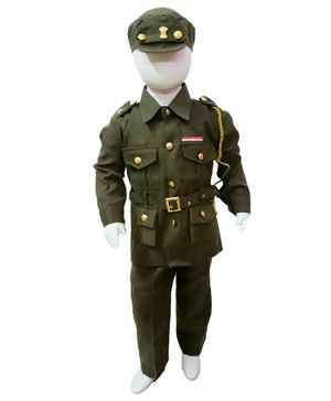 BookMyCostume Full Sleeves Army Soldier Profession Community Helper Fancy Dress Costume - Green & Golden