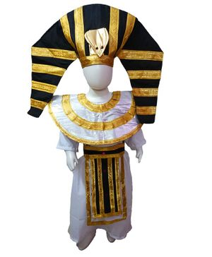 BookMyCostume Full Sleeves Egyptian  International World Costume  - White Black & Golden
