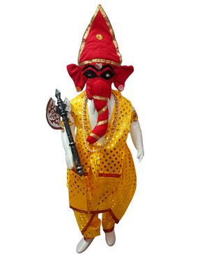 BookMyCostume Shri Ganesha Hindu God & Fancy Dress Costume - Yellow & Red