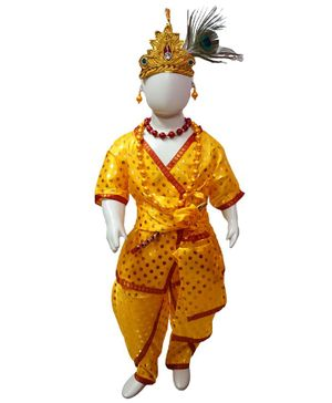 BookMyCostume Half Sleeves Polka Dot Print Shri Krishna Fancy Dress Costume - Yellow