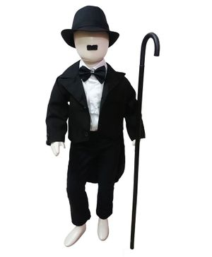 BookMyCostume Charlie Chaplin Famous Comic Character Fancy Dress Costume  With Stick - Black & White