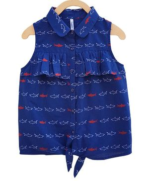 Campana Fish Print Front Knot Sleeveless Top - Navy Blue