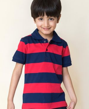 Campana Striped Polo Half Sleeves T-Shirt - Navy Blue & Red