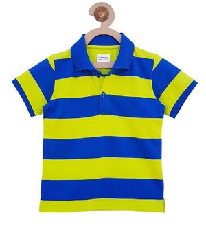 Campana Striped Polo Half Sleeves T-Shirt - Royal Blue & Lime Green