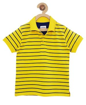 Campana Stripe Polo Half Sleeves T-Shirt - Yellow & Navy Blue