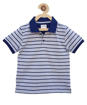 Campana Striped Polo Half Sleeves T-Shirt - Grey & Navy Blue