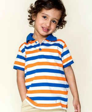 Campana Striped Polo Half Sleeves T-Shirt - Orange Royal Blue & Ivory