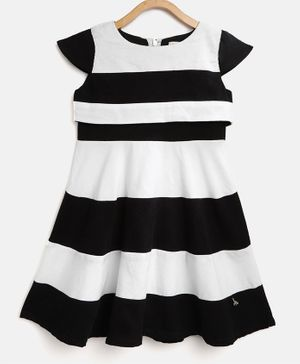 Cherry Crumble by Nitt Hyman Striped Cap Sleeves Dress - White & Black
