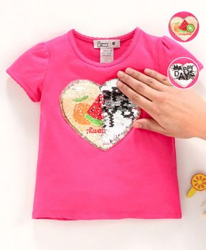 Memory Life Short Sleeves Sequin Flip Top Heart Patch Fruit Design - Pink