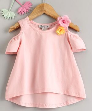 Memory Life Cold Shoulder Frock Style Top Flower Corsage - Peach