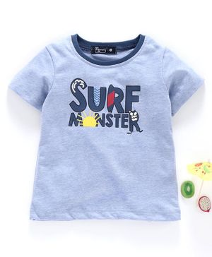 Memory Life Short Sleeves Tee Monster Print - Blue