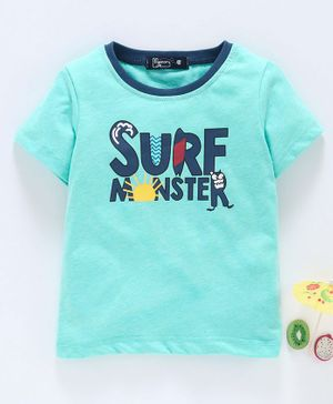 Memory Life Short Sleeves Tee Monster Print - Sea Green