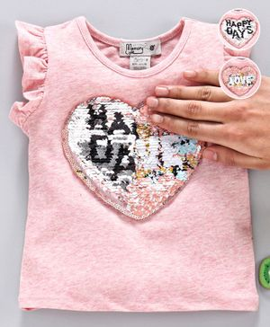 Memory Life Flutter Sleeves Sequin Flip Top Heart Patch - Pink