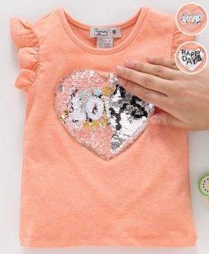 Memory Life Flutter Sleeves Sequin Flip Top Heart Patch - Peach