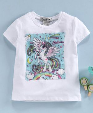 Memory Life Short Sleeves Tee Unicorn Embroidered - White