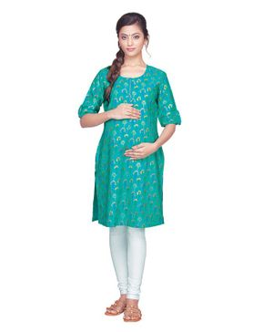 Kriti Half Sleeves Printed Maternity Kurta - Green