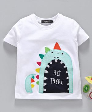 Memory Life Half Sleeves Tee Animal Patch - White