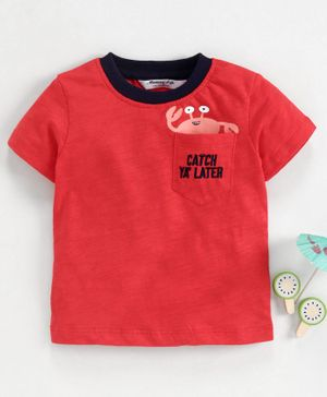Memory Life Half Sleeves Tee Crab Print - Red