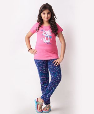 Soft Touche Half Sleeves Kitty Print Night Suit - Pink Blue