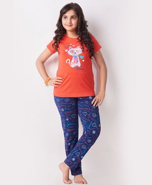Soft Touche Half Sleeves Kitty Print Night Suit - Orange Blue