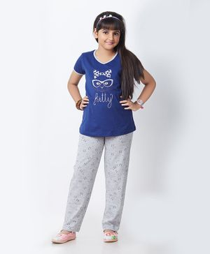 Soft Touche Kitty Print Half Sleeves Night Suit - Blue Grey