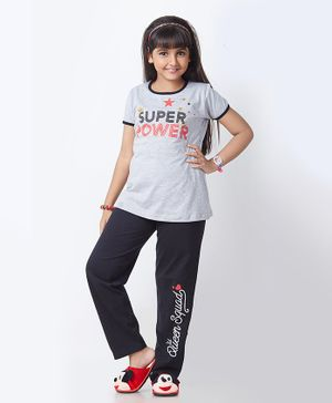 Soft Touche Super Power Print Half Sleeves Night Suit - Grey Black