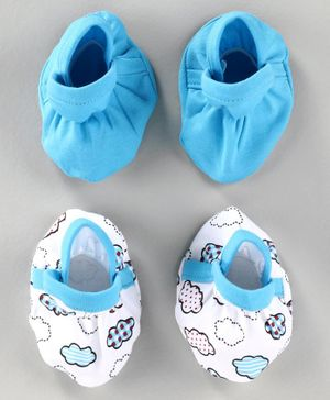 Babyhug 100% Cotton Booties Cloud Print Pack of 2 - Blue White