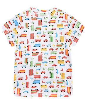 Awabox Multi Color Car Print Half Sleeves Tee - White