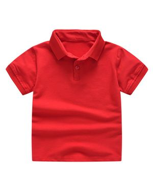 Awabox Solid Half Sleeves Polo Collar Tee - Red