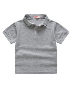 Awabox Solid Half Sleeves Polo Collar Tee - Grey
